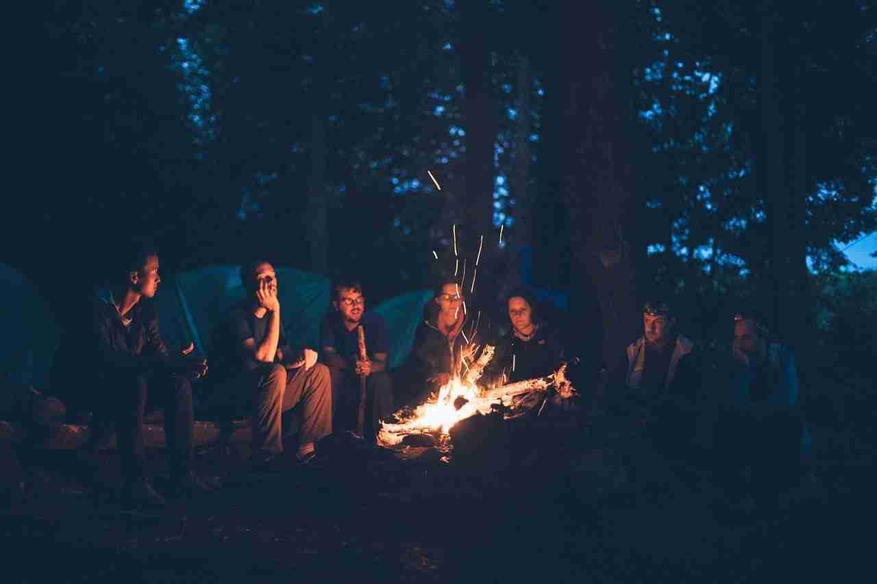 bonfire, camping, people